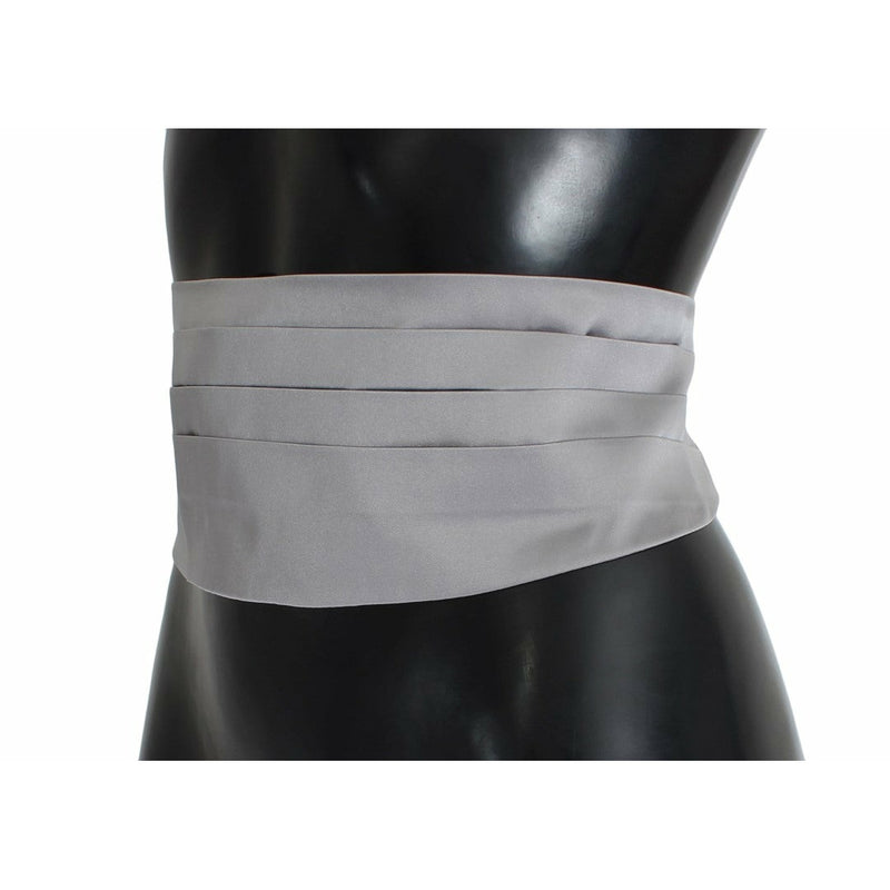 Gray Waist Belt Silk Cummerbund