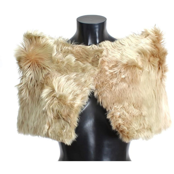 Beige Alpaca Fur Shoulder Wrap Scarf Shawl