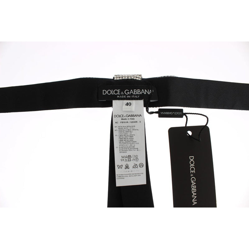 Black Silk Clear Crystal Waist Belt
