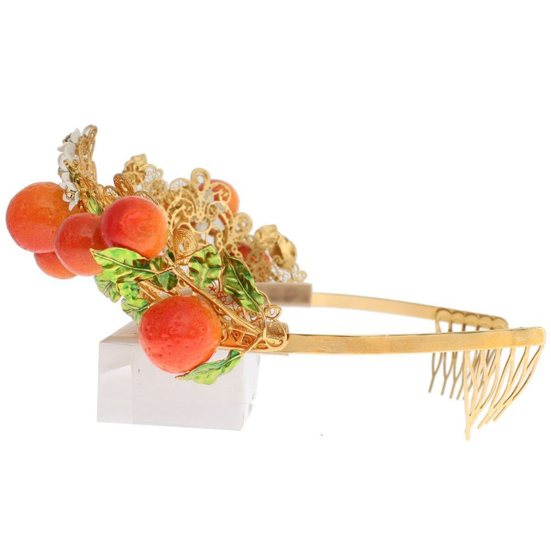 Multicolor Brass Crystal Sicily Orange Tiara