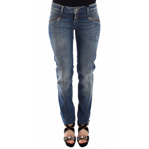 Blue Slim Jeans Denim Pants Straight Stretch