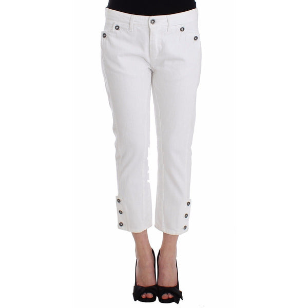 White Cropped Jeans Denim Pants Branded Capri