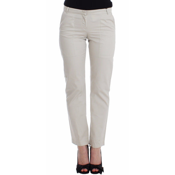 Beige Dress Pants Slim Skinny Leg Cotton