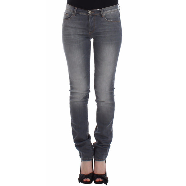 Gray Slim Jeans Denim Pants Skinny Leg Stretch