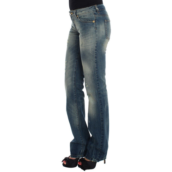 Blue Cotton Low Waist Jeans