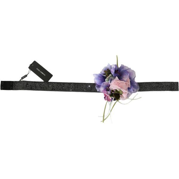 Belt Black Crystal Brass Flower Wide Waist