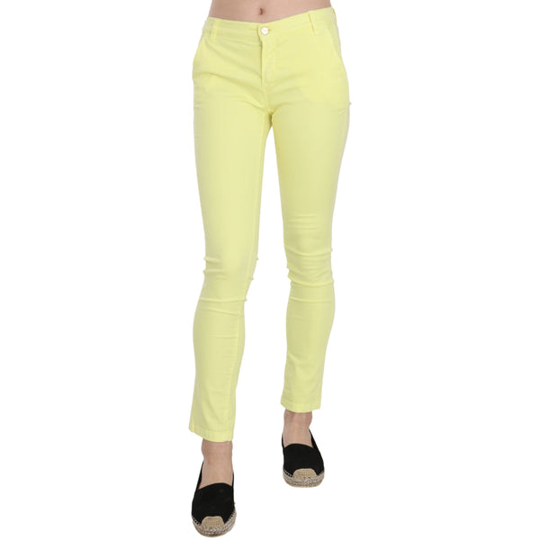 Yellow Cotton Stretch Low Waist Skinny Casual Trouser Pants