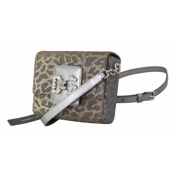 Gray Leopard #DG GIRLS Mini Cross Body Crystal Purse