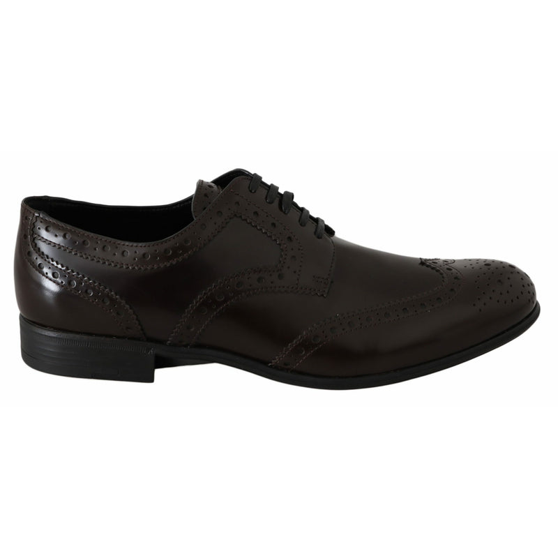 Brown Leather Broques Oxford Wingtip Shoes