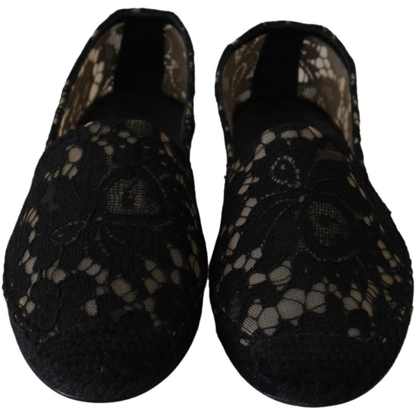 Black Lace Cotton Espadrilles Shoes