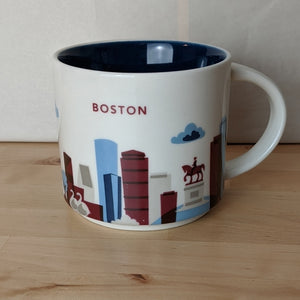 Boston Mug & Hot Cocoa Set (4 Mugs & 4 Hot Chocolate Spoons)