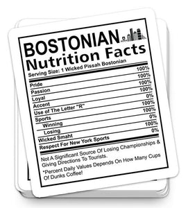 Bostonian Nutrition Facts Sticker
