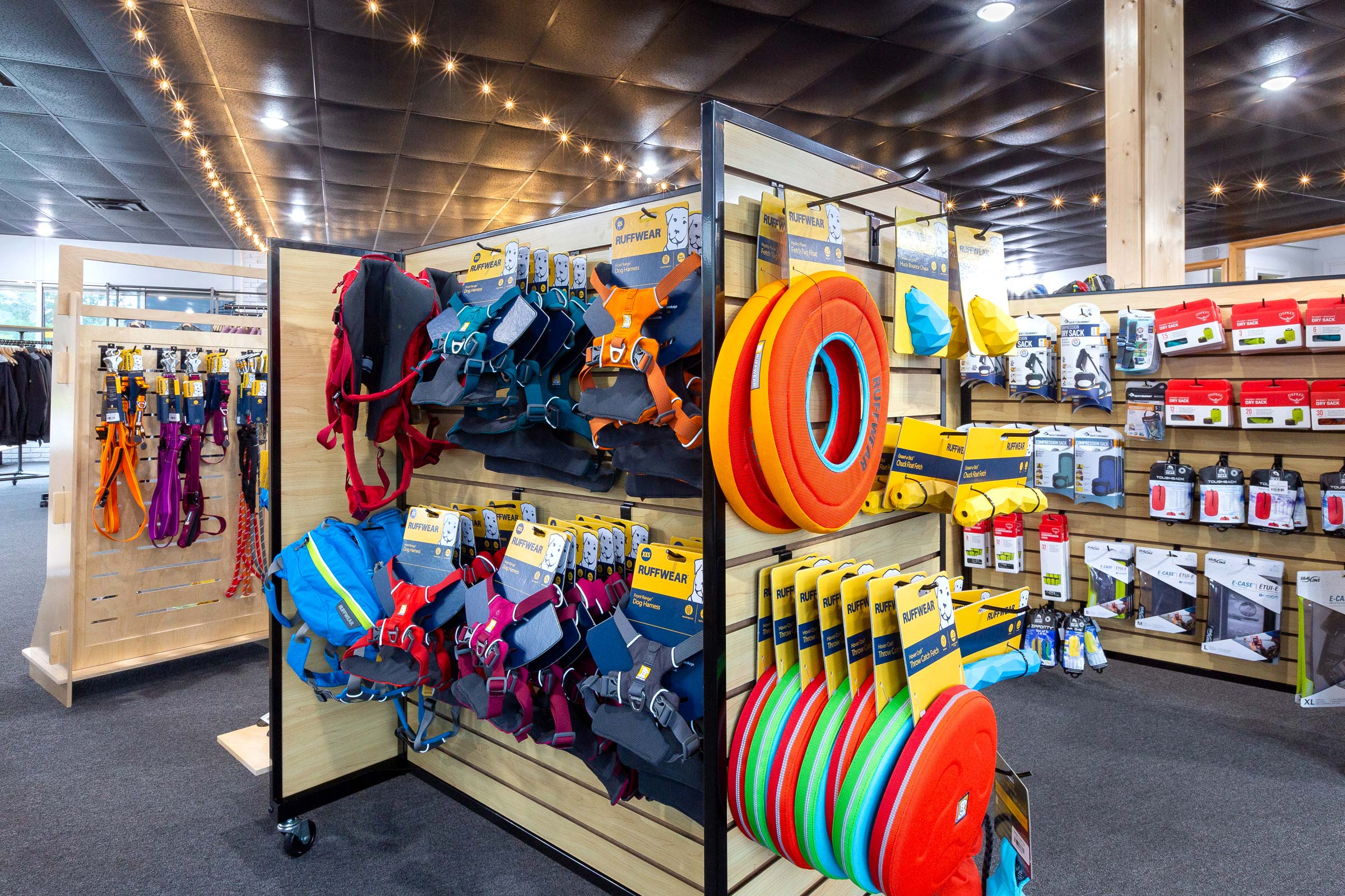 Trailful Outdoor Co stocks a selection of Ruffwear dog hiking gear, and the shop is dog-friendly for leashed dogs, too