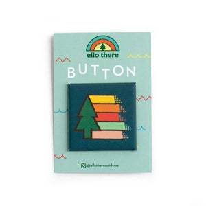 Retro Tree Rainbow Button