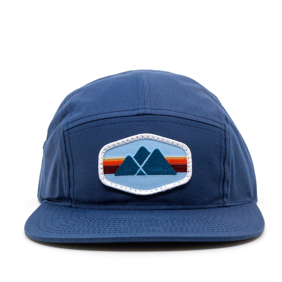 Trailful Mountain Logo 5-Panel Camper Cap - Light Navy