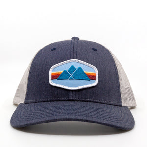 Trailful Mountain Logo Trucker Hat - Navy Heather / Light Gray