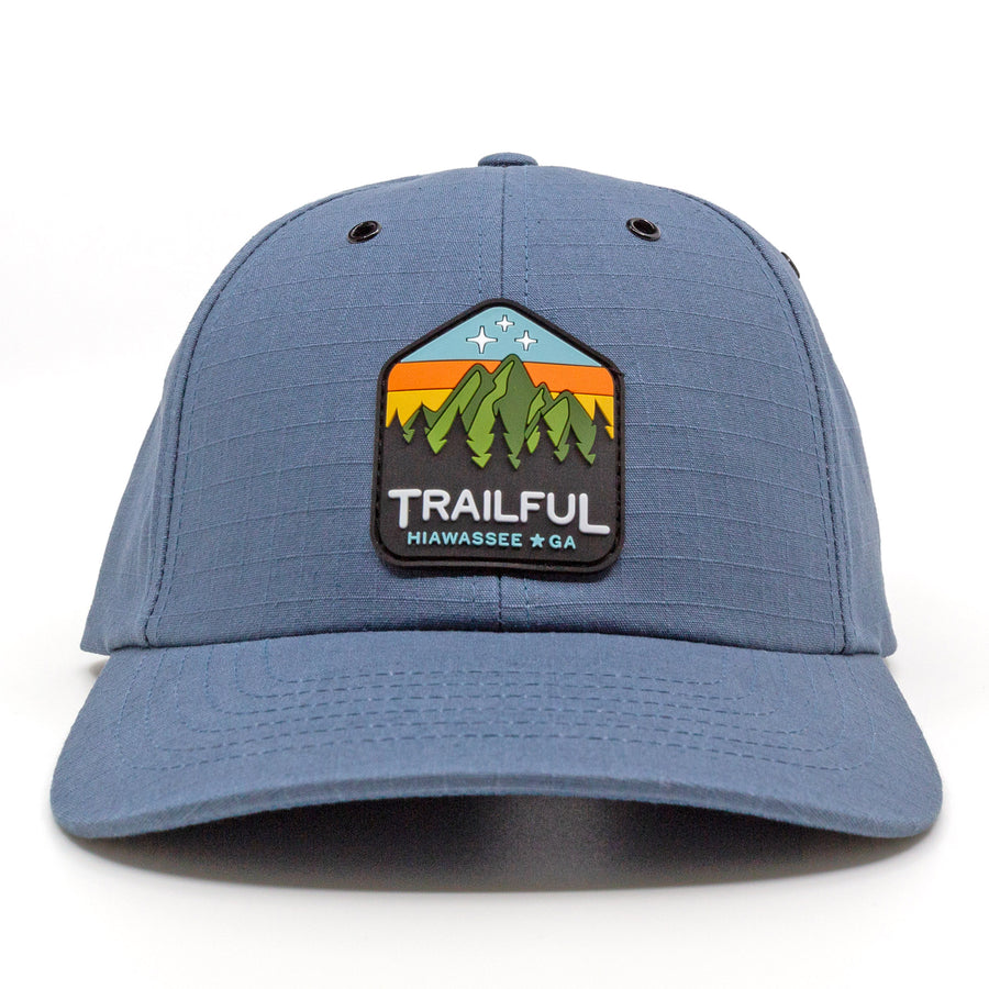 Trailful Mountain Sunset Rubber Patch Ripstop Hat - Mallard Blue