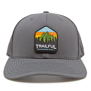 Trailful Mountain Sunset Rubber Patch Trucker Hat - Charcoal