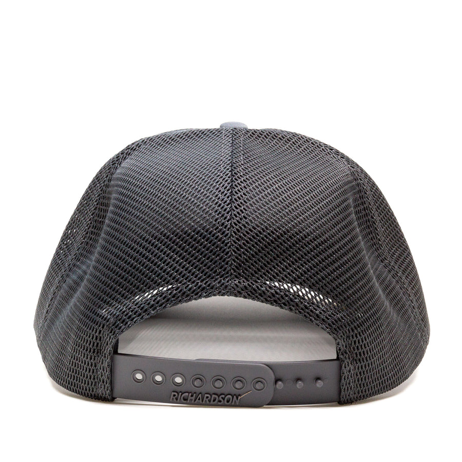 Trailful Mountain Sunset Rubber Patch Trucker Hat - Charcoal / Black
