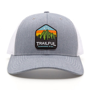 Trailful Mountain Sunset Rubber Patch Trucker Hat - Heather Gray / White