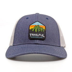 Trailful Mountain Sunset Rubber Patch Trucker Hat - Heather Navy / Light Gray