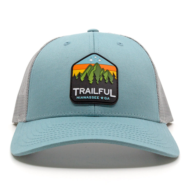 Trailful Mountain Sunset Rubber Patch Trucker Hat - Smoke Blue / Aluminum