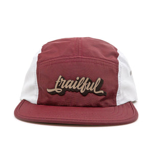 Trailful Script Breathable Mesh Hat - Maroon / Glacier Gray