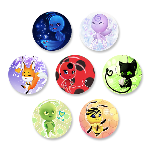 Miraculous Ladybug Kwami 1.5 Inch Pin Back Button Set