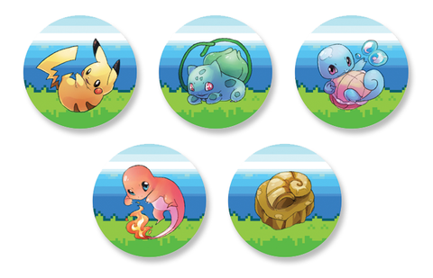 Kanto Pokemon Starters 1.5 Inch Pin Back Button Set