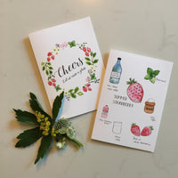 Alcohol Free Cocktail Recipe Notecards (Pack of 8) UK measurements