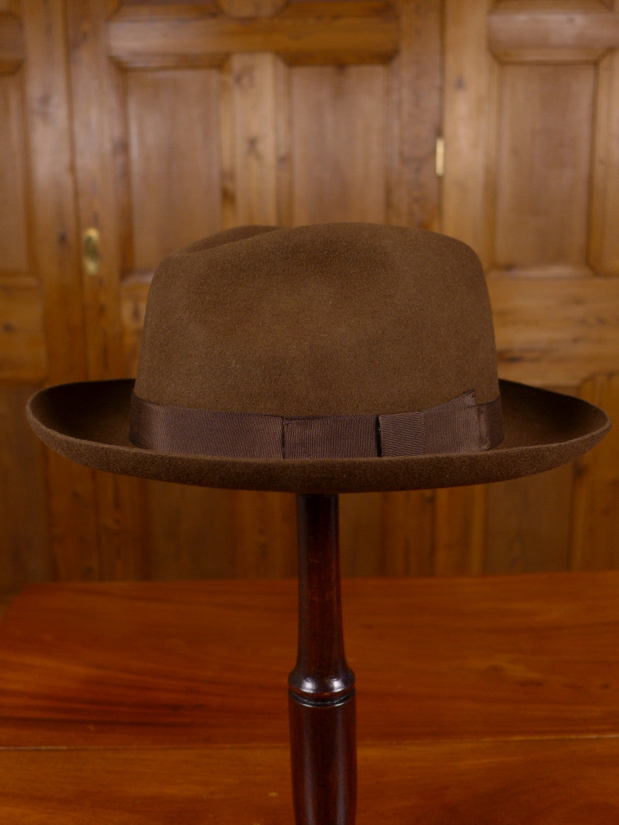 NEW DENTON HATS HAND MADE BROWN WOOL FELT TRILBY 56-62 CMS