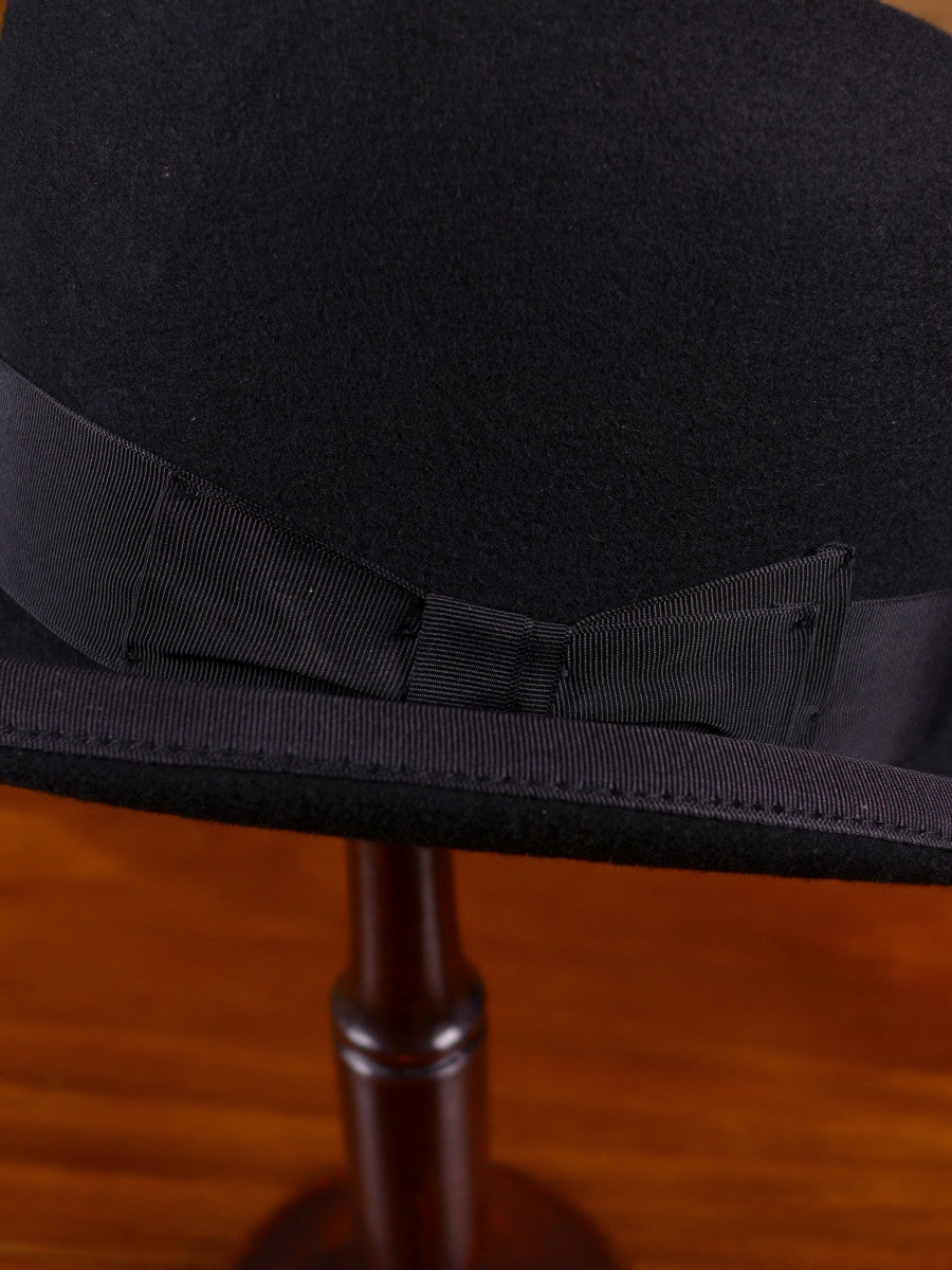 NEW DENTON HATS HANDMADE 100% WOOL BLACK HOMBURG HAT S M L XL