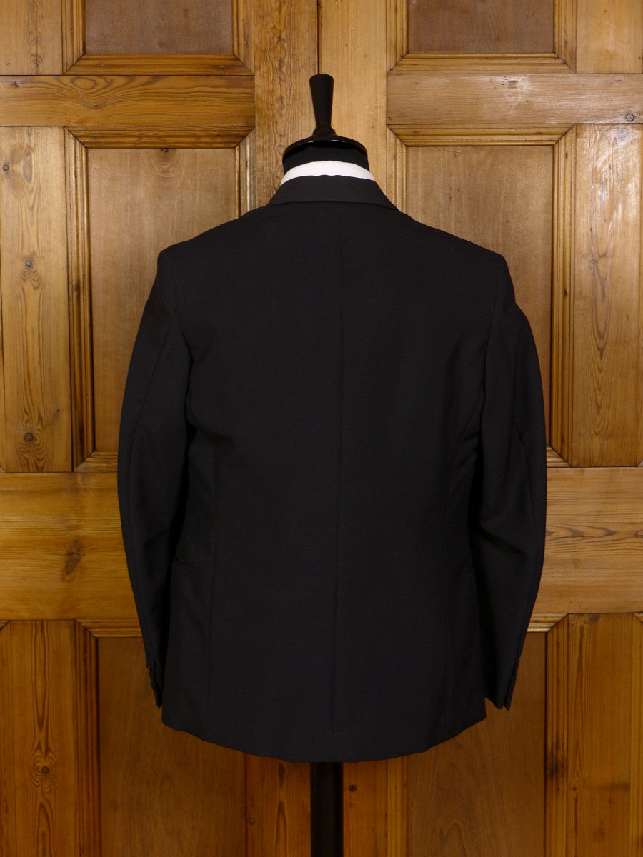 3007/252 1960S VINTAGE BLACK MOHAIR / SILK-SATIN SHAWL DINNER JACKET 39 SHORT