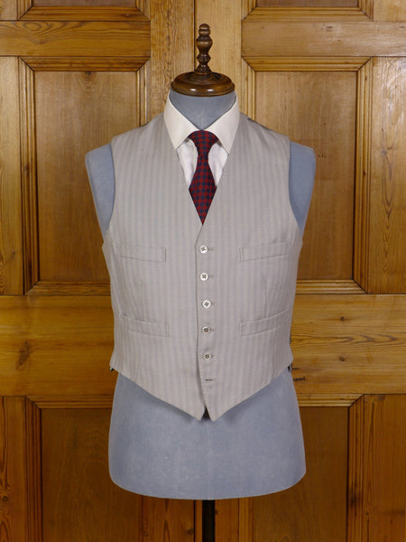 2701/10DC VINTAGE 1968 ANDERSON & SHEPPARD SAVILE ROW BESPOKE DOVE GREY STRIPE MORNING WAISTCOAT 40-41 SHORT