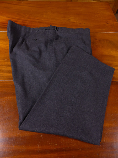 17/0093 SAVILE ROW BESPOKE JOHNS & PEGG GREY WORSTED FLANNEL TROUSER 48 SHORT