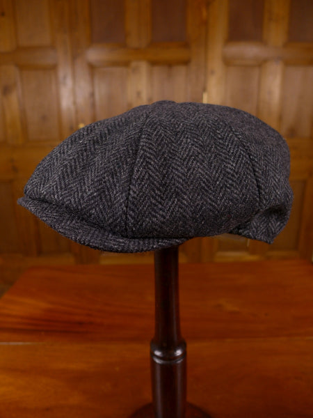 NEW DENTON HATS 'GATSBY' BAKERS BOY STYLE GREY HERRINGBONE WOOL FLAT CAP ALL SIZES