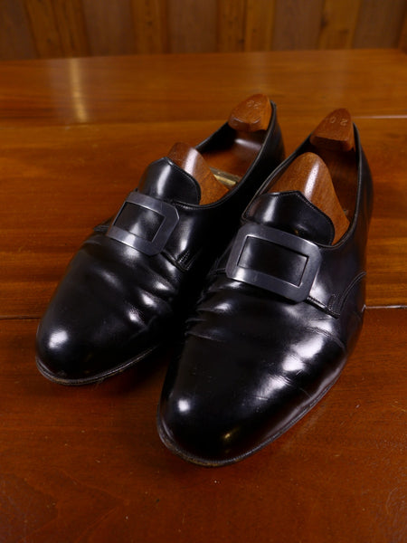 17/0154 (dc) superb vintage john lobb black court shoes w/ matching wooden trees uk 8.5 f