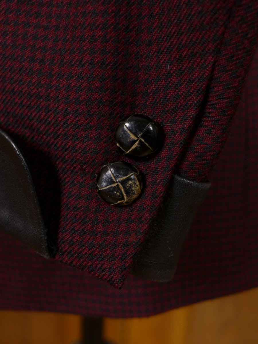 17/0189 vintage d'avenza bespoke  pure cashmere red / black check sports jacket blazer w/ black leather trims 42-43 short