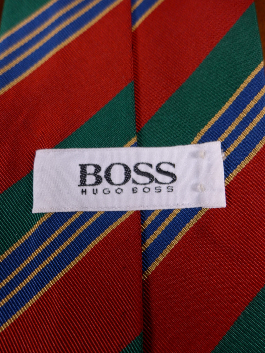17/0105a hugo boss red / green striped 55% silk & 45% cotton tie