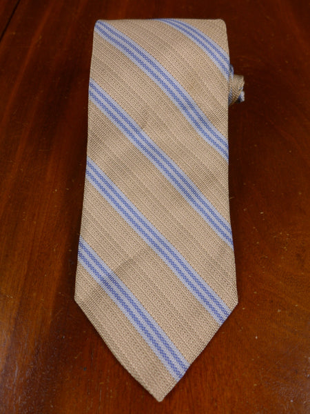 17/0109j immaculate faconnable beige / blue striped 100% silk tie