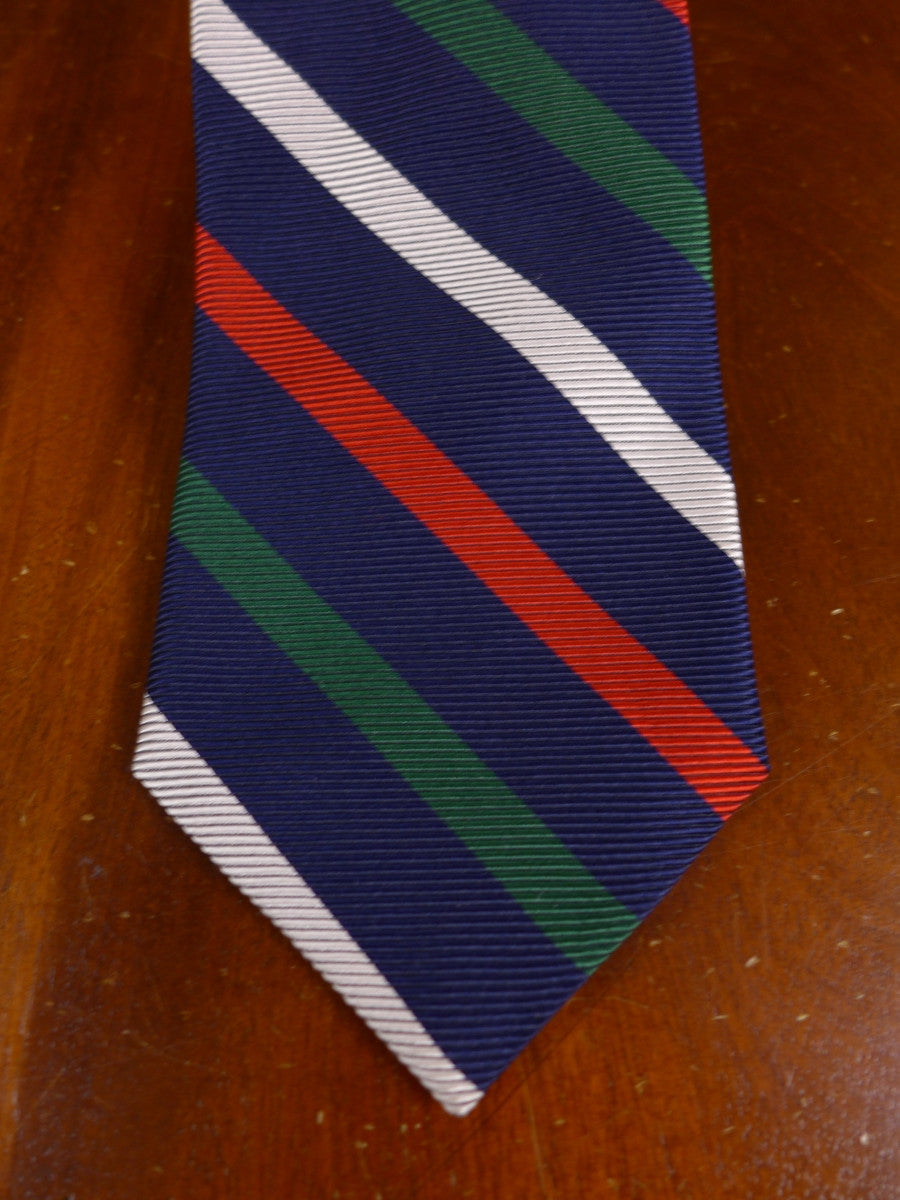 17/0105y immaculate faconnable blue / red / green striped 100% silk tie