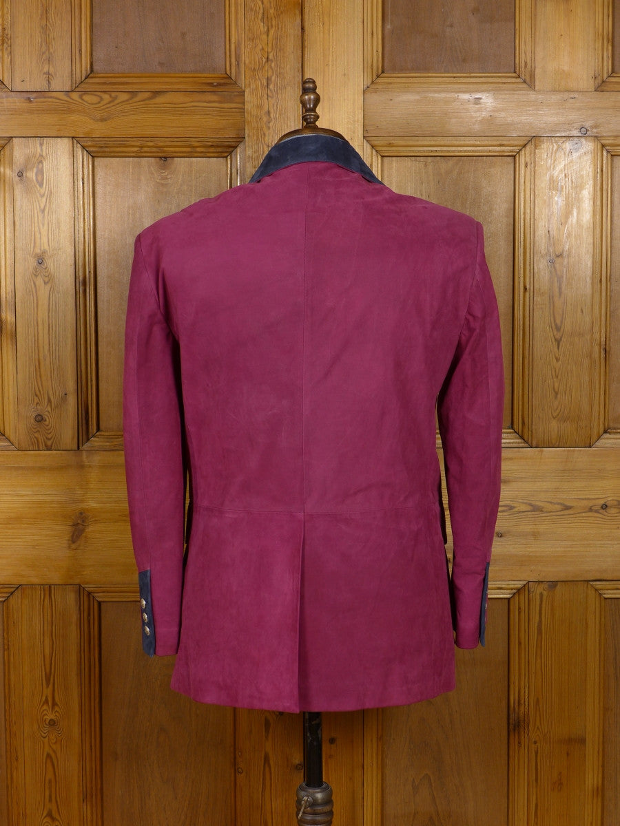 17/0191 (dc) stunning santarelli sartoria red nubuck leather safari style blazer sports jacket 42-43 short