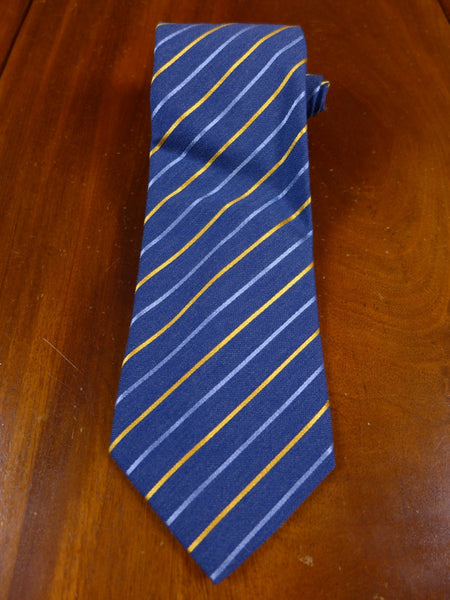 17/0105n immaculate austin reed blue / gold striped 52% wool 48% silk tie