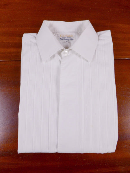 17/0151 vintage british 1960s 1970s white pleat front evening shirt 15.5