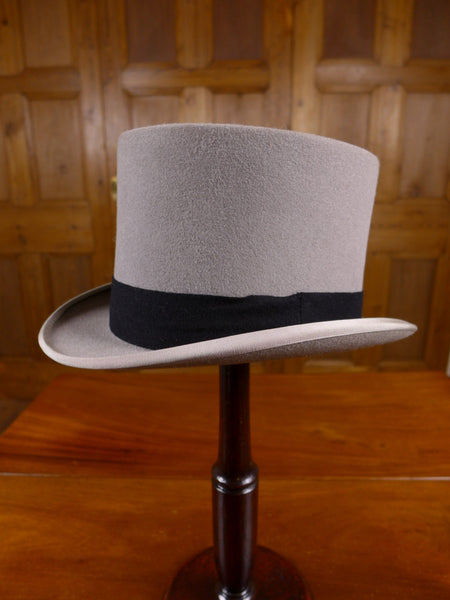 17/0112 (pt) vintage lincoln bennett & co piccadilly grey wool felt top hat for royal ascot / wedding 56 cms