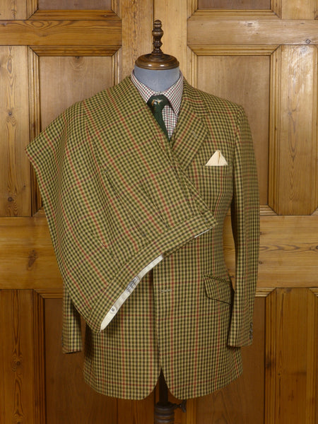 17/0128 (dc) superb tom brown eton bespoke heavyweight gun club check 3-piece tweed suit 41 short to regular