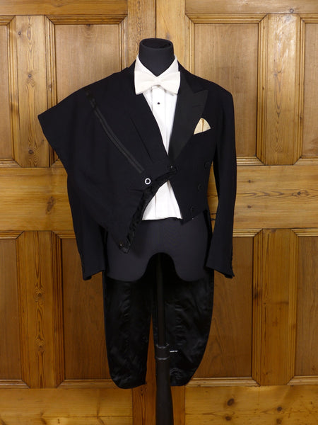 17/0162 (dc) vintage 1934 anderson & sheppard black evening tails tailcoat suit 36 short - made for member of the Sheppard family