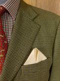 17/0177 (pt) vintage harrods green / brown dogtooth check wool sports jacket 45-46 short