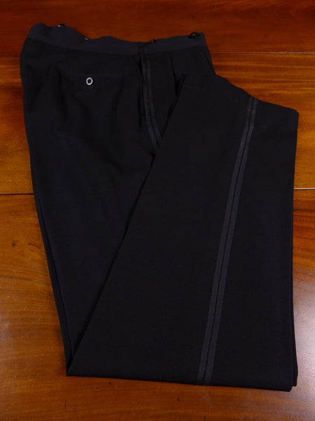 17/0854 vintage frank hall bespoke black barathea wool high-rise twin-stripe evening trouser 36 regular long