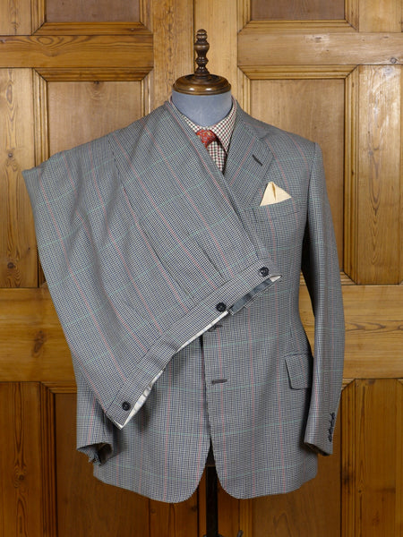 17/0186 (dc) superb vintage tom brown eton bespoke country check 3-piece wool suit 40 short